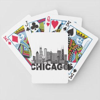 Baralho Texto da skyline da cidade de Chicago preto e