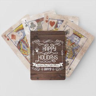 Baralho Tipografia rústica do Natal da madeira boas festas