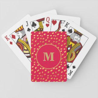 Baralho Vermelho do monograma e cartão de jogo dos