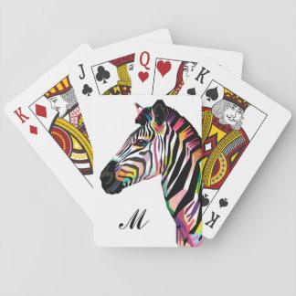 Baralho Zebra colorida do pop art Monogrammed