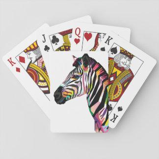 Baralho Zebra colorida do pop art no fundo branco