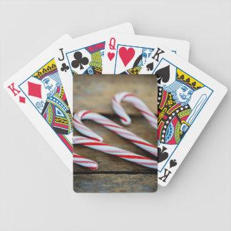 Baralhos De Poker Bastões de doces de Chrstmas na madeira do vintage