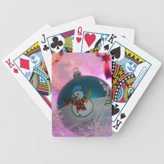 Baralhos De Poker Boneco de neve - bolas do Natal - Feliz Natal