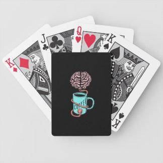 Baralhos De Poker Café para o cérebro. Ilustração engraçada do café
