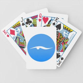 Baralhos De Poker logotipo de swim_in_Blue2Swimming no t-shirt