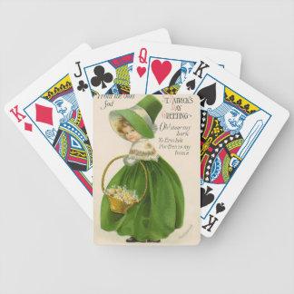 Baralhos De Poker Menina do vintage com Dia de São Patrício verde do
