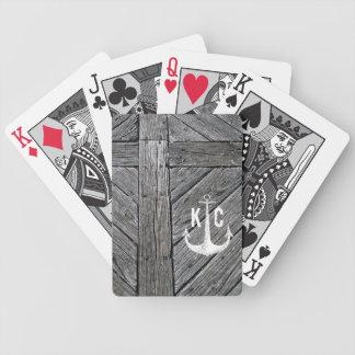 Baralhos De Poker Monograma náutico da âncora de madeira rústica do