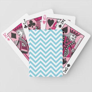 Baralhos De Poker O ziguezague azul e branco listra o teste padrão