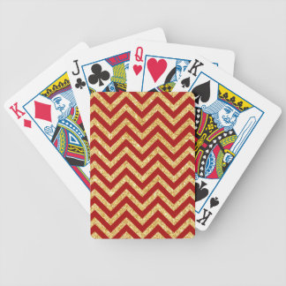 Baralhos De Poker O ziguezague vermelho do brilho do ouro listra o