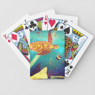 Baralhos De Poker Pintura colorida da tartaruga de mar do oceano