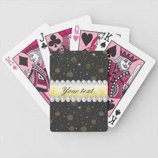 Baralhos De Poker Preto de Bling das estrelas e dos diamantes dos