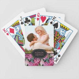 Baralhos De Pôquer Aguarela floral do rosa do rosa - foto do