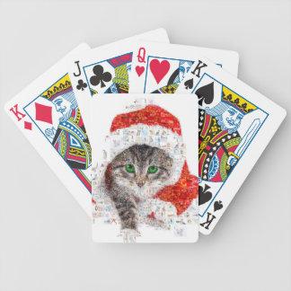 Baralhos De Pôquer gato de Papai Noel - colagem do gato - gatinho -