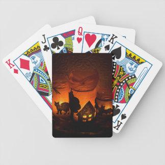 Baralhos De Pôquer Gato preto do Dia das Bruxas com luminares e