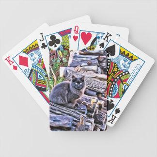 Baralhos De Pôquer Gato preto em uma pilha da madeira