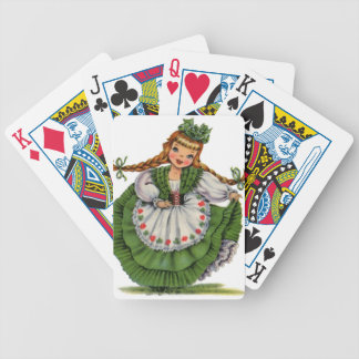 Baralhos De Pôquer O dançarino irlandês retro da boneca com dobras
