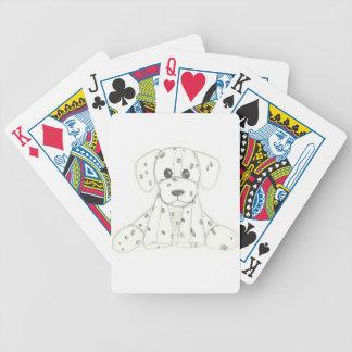 Baralhos De Pôquer o doodle simples do cão caçoa o dalmatian branco