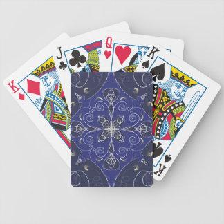 Baralhos De Pôquer Teste padrão azul barroco medieval da obscuridade