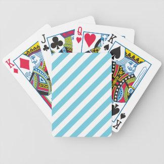 Baralhos De Pôquer Teste padrão diagonal azul e branco das listras