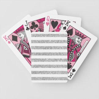 Baralhos De Pôquer Teste padrão elegante da listra do brilho da prata