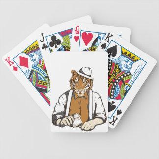 Baralhos De Pôquer tigre humano com cartões de jogo