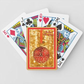 Baralhos Para Poker Bauble do Feliz Natal no ouro