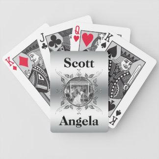 Baralhos Para Poker Monograma elegante da foto do aniversário de