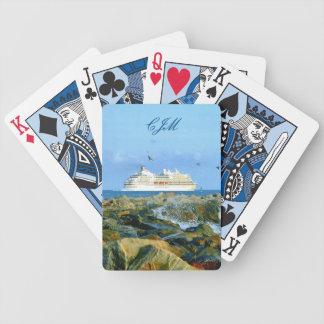 Baralhos Para Poker Seascape com o navio de cruzeiros Monogrammed