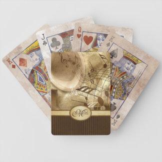Baralhos Para Pôquer Notas musicais do gramofone Monogrammed do ouro do