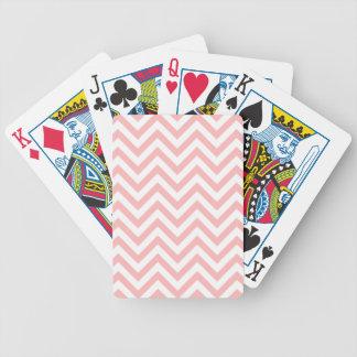 Baralhos Para Pôquer O ziguezague cor-de-rosa e branco listra o teste