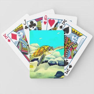 Baralhos Para Pôquer Tartaruga de mar que pinta o mar azul bonito