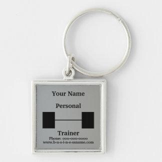 Barbell pessoal do instrutor chaveiro quadrado na cor prata