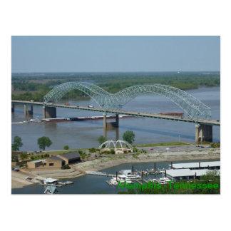 Barca no cartão do rio Mississípi