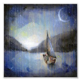Barco da lua - impressão da arte da ilustração das artes de fotos