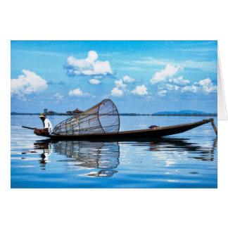 Barco de pesca em Inle Cartão De Nota