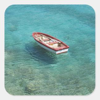 Barco de pesca na água clara, colorida, Mani Adesivo Em Forma Quadrada