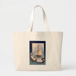 Barco de vela do vintage com poupança, corda e ânc sacola tote jumbo