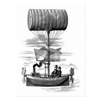 Barco fantástico do balão do dirigível de cartão postal