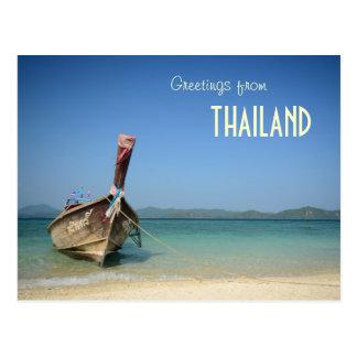 barco longo tradicional do transporte de Tailândia Cartão Postal