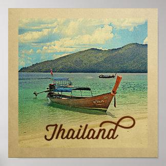 Barco tailandês das viagens vintage do poster de
