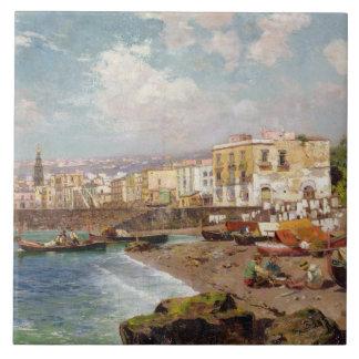 Barcos de pesca na praia em Marinella, Nápoles (o