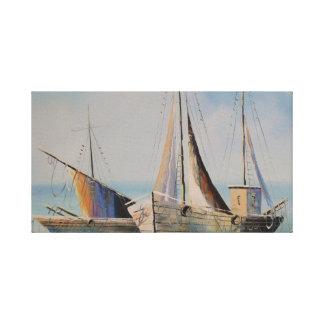Barcos de vela na lona esticada impressão em tela