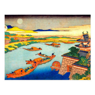 Barcos e lua Katsushika Hokusai Cartão Postal