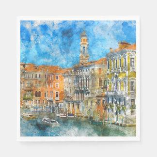 Barcos no canal grande de Veneza Italia Guardanapo De Papel