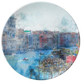 Barcos no canal grande em Veneza Italia Prato De Porcelana