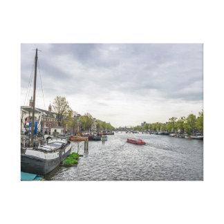 Barcos no impressão das canvas de Amsterdão