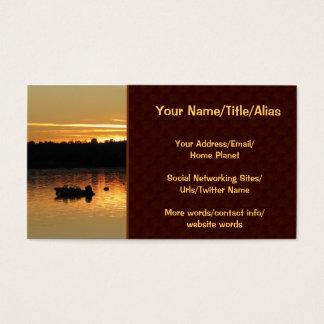 Barcos no por do sol cartão de visitas