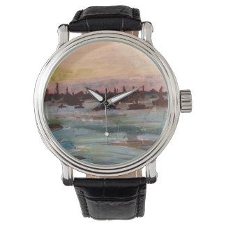 Barcos no relógio da pintura do Lago Erie