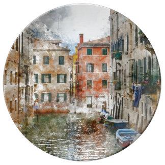 Barcos nos canais de Veneza Italia Louça De Jantar