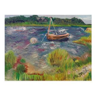 Barcos nos primaveras Hampton do leste Cartão Postal
